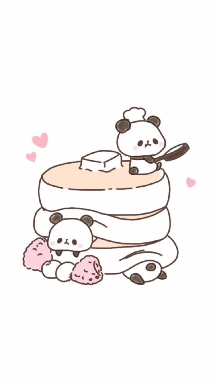 Wallpaper | Cute | Panda | Pancakes | Illustration