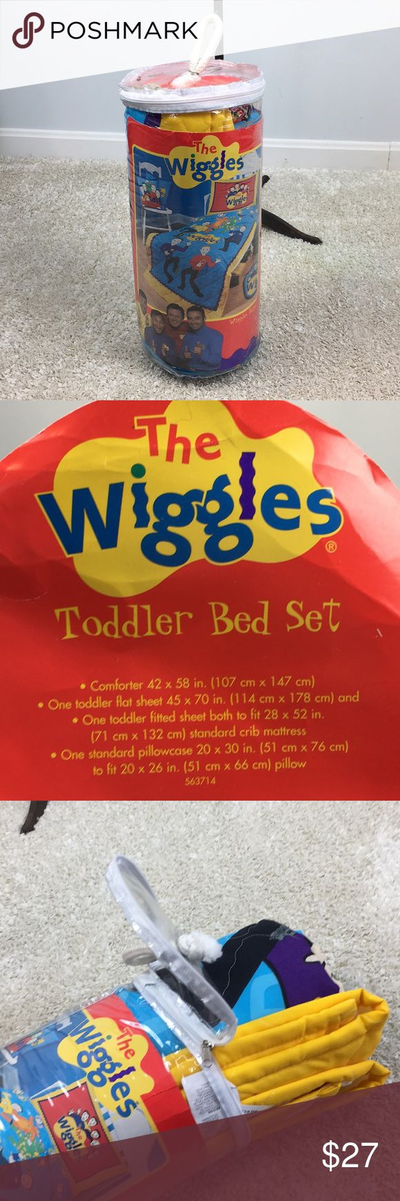RARE BRAND NEW Wiggles 4PC Toddler Bed Set Comforter Toddler flat sheet, fitted sheet and pillow case! Never opened till pic. brand New! Rare a vintage Hard to find! Who doesn't love the wiggles ?? Fruit salad! Home Fashions Other