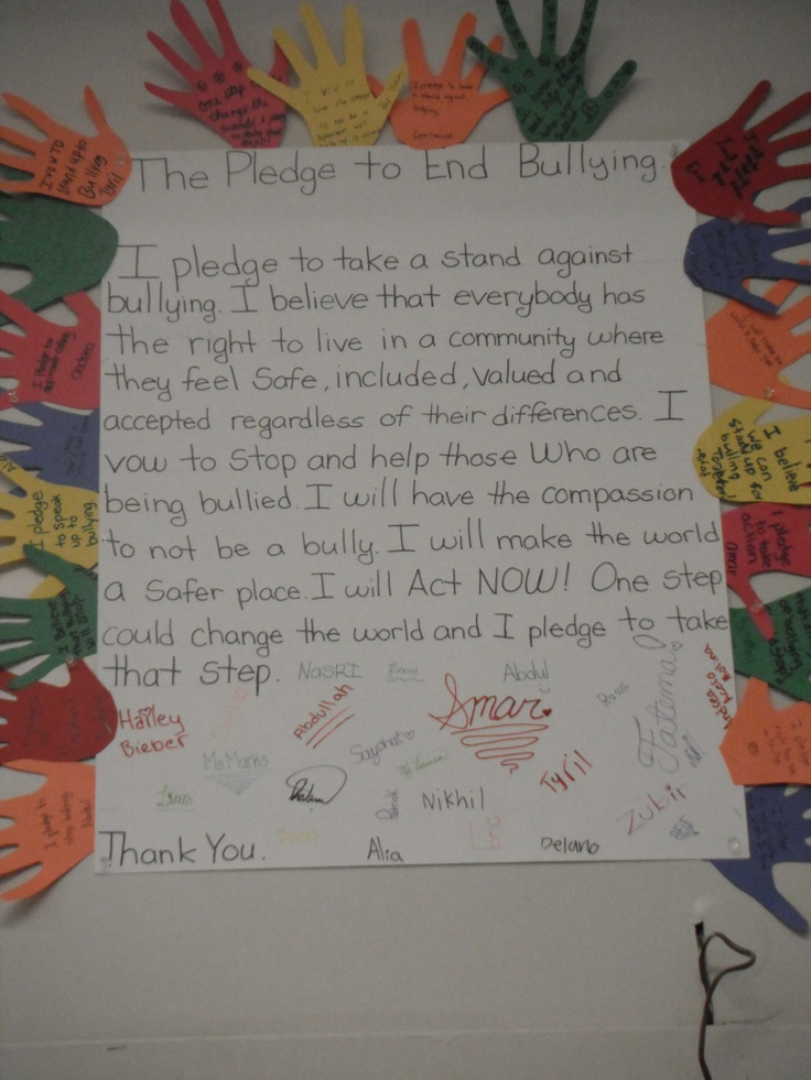 I did a unit on stereotyping and bullying and my class made this anti bullying pledge! We finished it off with our personal pledges around the outside! It makes for great classroom art as well!