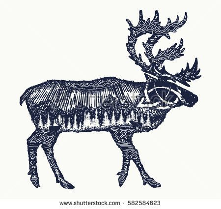 Reindeer tattoo art. Symbol tourism, travel, far north. Mountains, polar light, celtic pattern. Reindeer double exposure animals t-shirt design