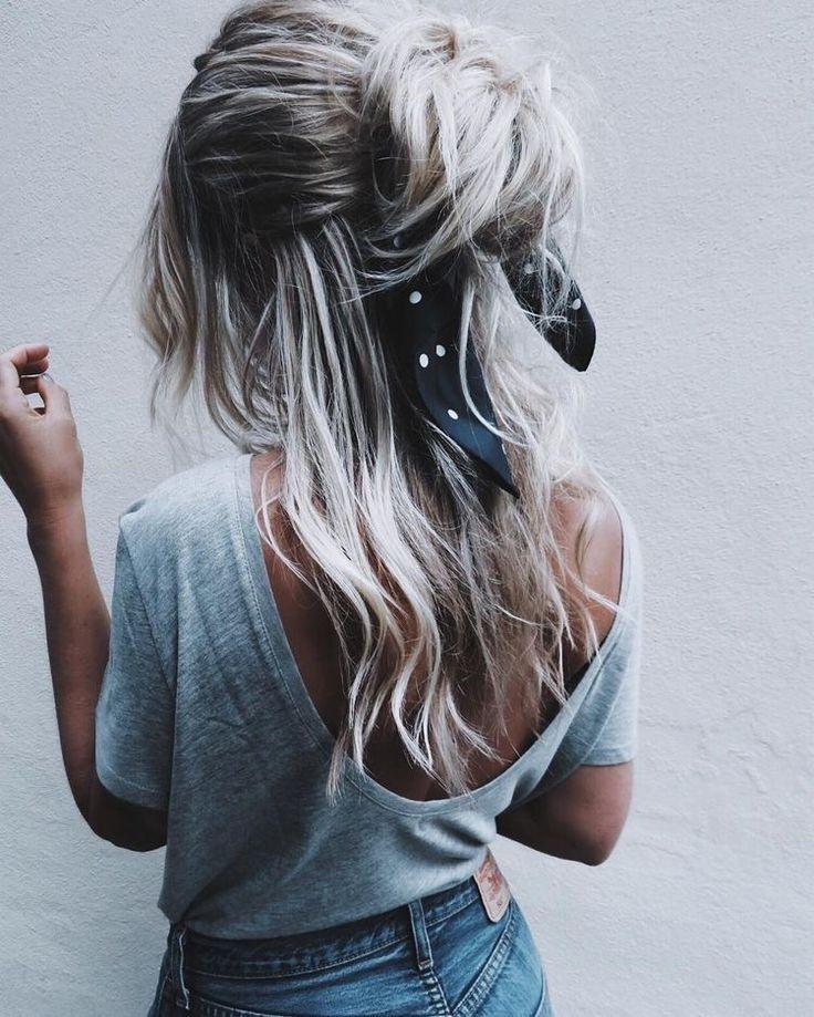 Half up + hair wrap.