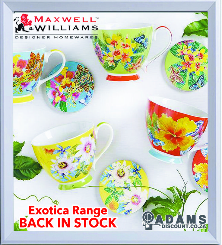 Now back in stock at Adams is the Maxwell & Williams Exotica Range. Designed by Sydney based artist Gabby Malpas, Exotica features a sumptuous tropical floral design in generously sized mugs and coasters. The mugs are 400ml and at Adams you will find 7 different patterns to choose from.