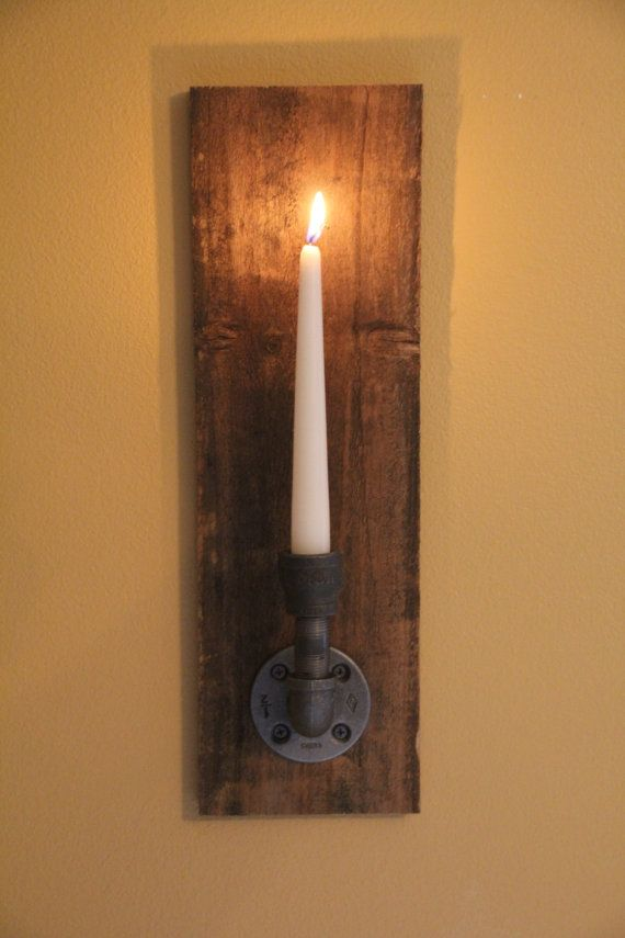 Reclaimed Rustic Wood Candle Wall Sconce- Industrial, Steampunk, Rustic Cottage Chic style ...