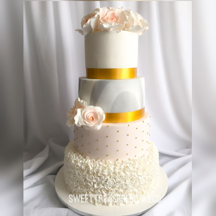 #congratulations to #brenda and #Felix for #tyingtheknot. Made this #caramel and #chocolate #cake for the #wedding #celebration. #blush #marble #white #pearls #frill #gold #bouquet #flowers. #joburg #sweettreasurescakeco #sweettreasures #southafrica #customcakes #marriage #love #bae #weddingthings #weddingday