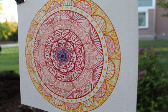 Hand Drawn Mandala Print Bright Red Mandala Print by WestridgeART