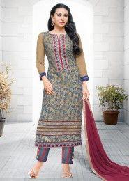 Casual Wear  Georgette Multi Colour Printed Churidar Suit