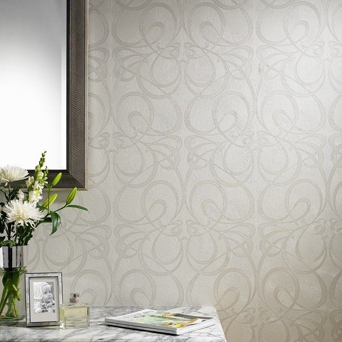 Jazz White / Silver Wallpaper by Graham and Brown