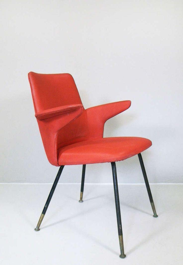 Gastone Rinaldi; Brass and Enameled Metal Armchair for Rima Padova, 1953.