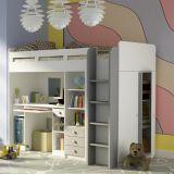 Combi White hoogslaper in wit met zilverkleurEen ruimtebesparende hoogslaper met veel opbergruimte. Het bed is vervaardigd van hoogwaardige spaanplaat in matwit met zilverkleurige details. Aan de voorzijde een robuuste en veilige trap, waarachter zich bergruimte bevindt (met hang én leggedeelte, afmeting H112xB90xD49). Het bureaublad biedt royaal plaats voor je huiswerk en er zijn in totaal 4 lades voor je schoolspullen. Dit bureau (B112 H72 D54) is ook vrijstaand te gebruiken, zodat je ...