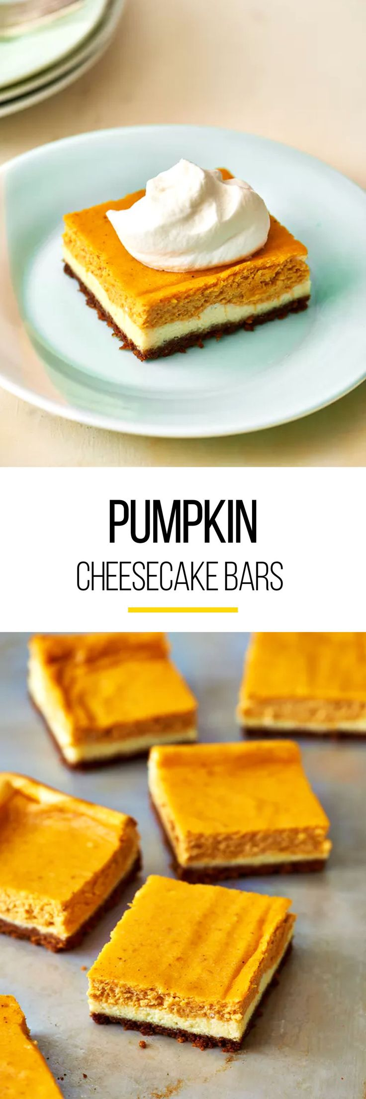 Eat them now, or stash them in the freezer for Thanksgiving! These pumpkin cheesecake bars are going to make your fall super sweet. What's great about this sweet treat is that it is perfect for both meat eaters and vegetarians alike, so everyone can enjoy. This pumpkin cheesecake bar recipe is easy to make, freezer-friendly and healthy to munch on. TO make these, you'll need whole graham crackers, granulated sugar, unsalted butter, cream cheese, eggs, pumpkin purée and ground cinnamon.