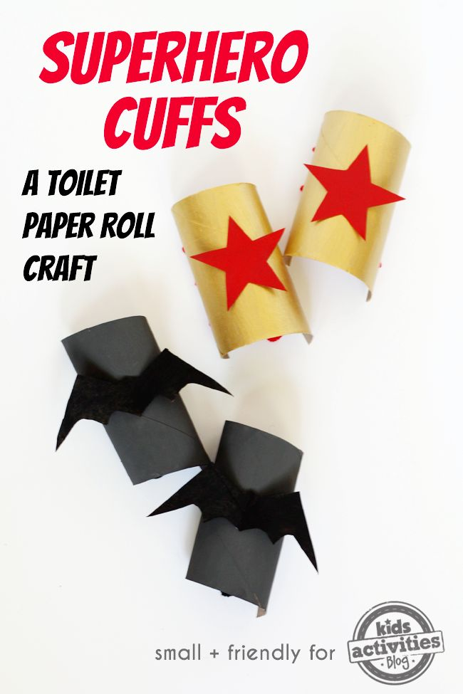 """Part craft, part toy, all fun! These superhero cuffs are the ultimate in toilet paper roll crafts!"" ADORABLE!!! So fun!!!"