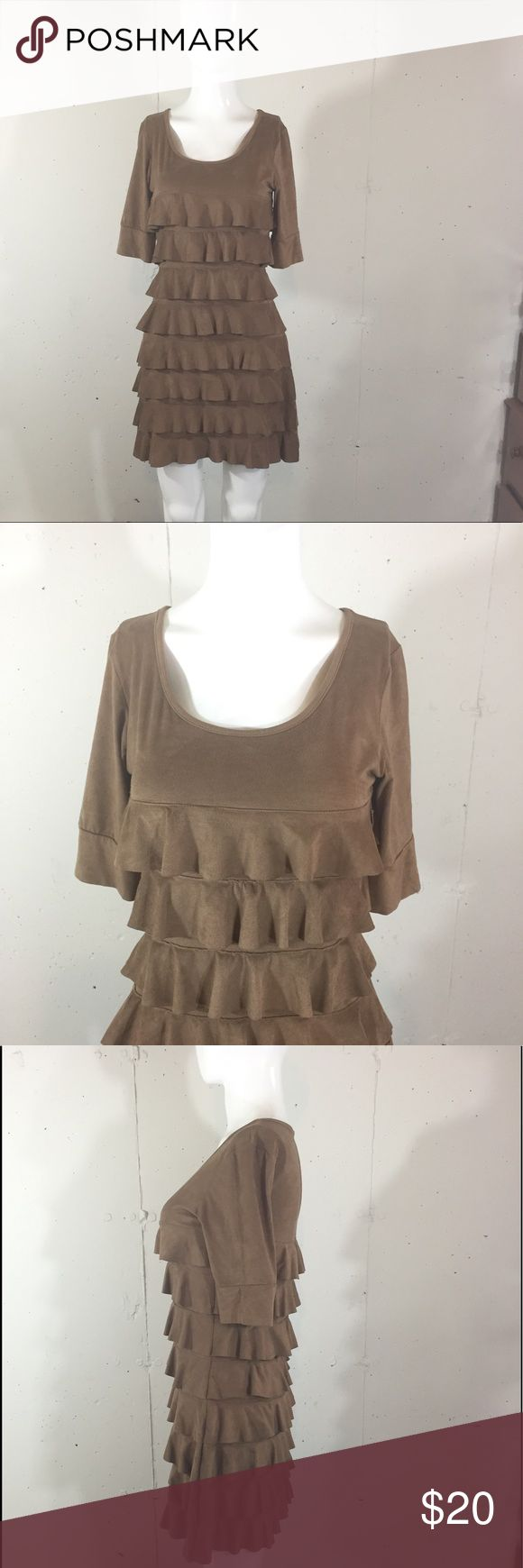 "Isle Apparel sz s brown suede like tiered dress Above knee boho festival dress 36"" bust 12"" sleeves, 33"" long brown faux suede fabric so soft isle apparel Dresses Mini"