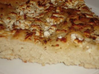 Cheese Bread (Tiropsomo). This a lovely bread with Greek feta cheese. It's a wonderful accompaniment for any dish, but especially for Greek Bean Soup - Fasolada - along with olives.