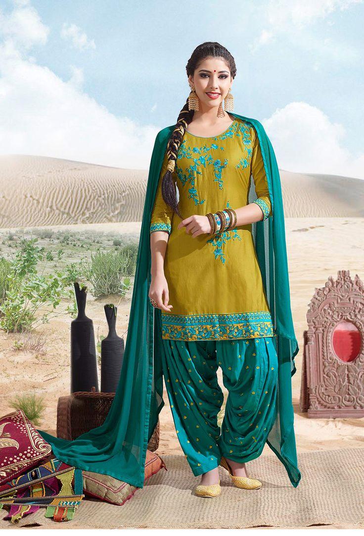 #Mehandi #Green #Cotton #Patiala #Suit #nikvik  #usa #designer #australia #canada #freeshipping