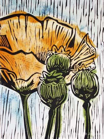 California Poppies Limited edition linocut