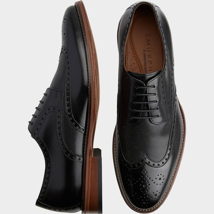 Murphy by Johnston & Murphy Hughes Black Wingtip Oxfords - Men's Dress Shoes