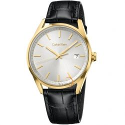 Calvin KLEIN Ladies Gold Black Leather Strap