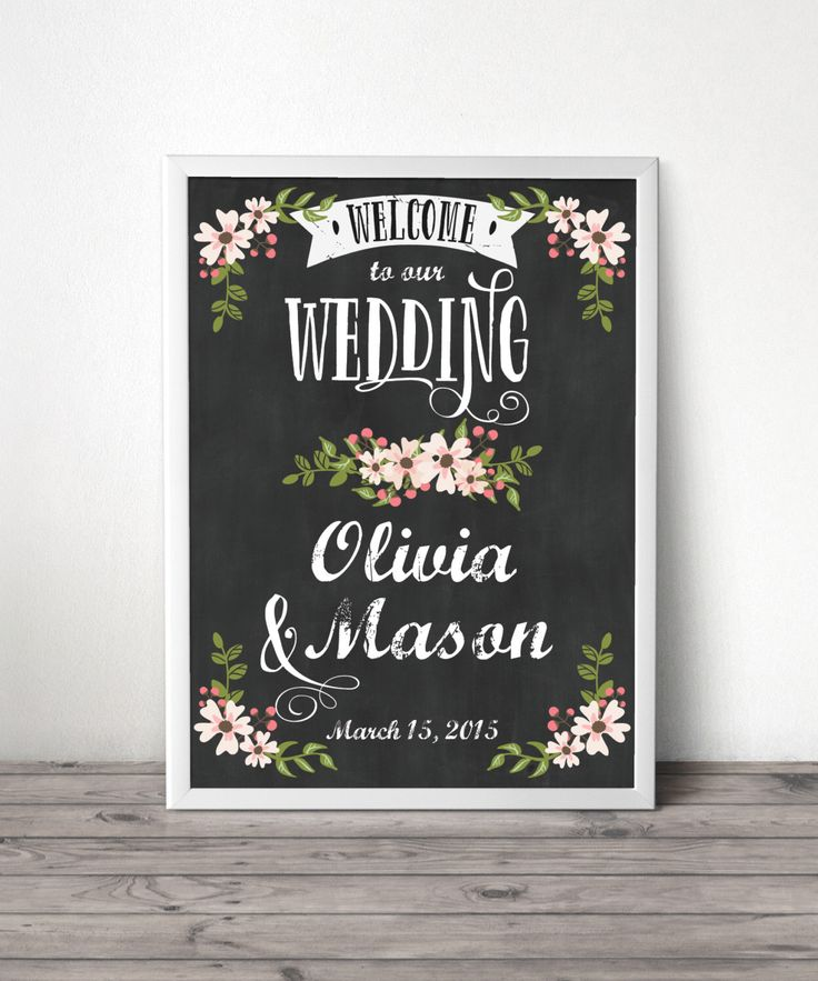 Country Bloom Chalkboard Welcome Sign - Wedding Welcome Sign - Bridal Shower Welcome Sign - Baby Shower - Chalkboard - DIGITAL FILE by CreativeUnionDesign on Etsy https://www.etsy.com/listing/197457568/country-bloom-chalkboard-welcome-sign