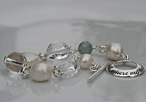 Home is where my heart is -bracelet. Etched silver.