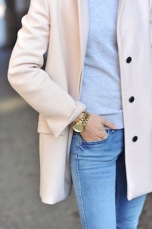 Soft and light for spring - I love the gray and blush colors with a lighter jean.