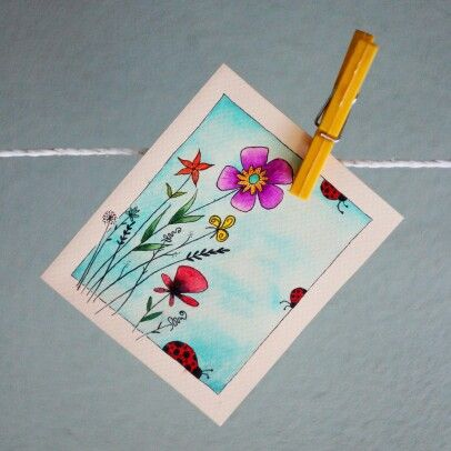 #design #painting #watercolor #colorful #card #flower