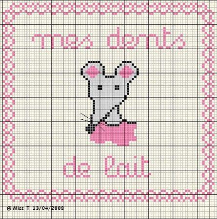 Bébé - baby - souris - point de croix - cross stitch - Blog : http://broderiemimie44.canalblog.com/
