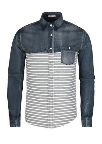 Men's Long Sleeve Striped Contrast Shirt   $24.99