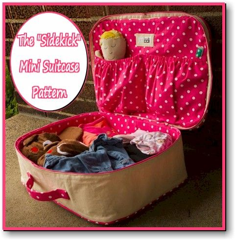 The Sidekick Mini Suitcase Sewing ePatternFree Sewing, Sidekick Minis, Sewing Projects, Minis Suitcases, Suitcases Pattern, Dolls Clothing, Sidekick Suitcases, American Girls, Sewing Patterns