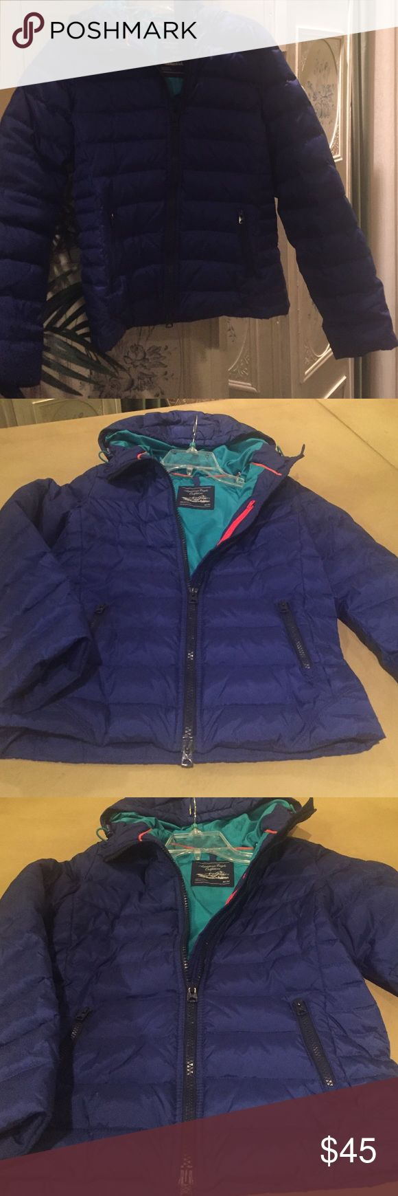 American eagle outfitters jacket Beautiful size medium eagle outfitters blue jacket. In great condition rare find American Eagle Outfitters Jackets & Coats Puffers