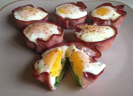 6 eggs 1 avocado Nitrate free ham Cayenne pepper in muffin tray at 400F for 20 minutes. The whites sound be firm to the touch. If you don't want the yolk to be too firm cook for about 15-16 minutes.