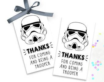 Storm Trooper Gift Tag, Star Wars Gift Tag, Star Wars Party Favor, Storm Trooper Thank You, Gift Tag Storm Trooper, Star Wars Birthday Party