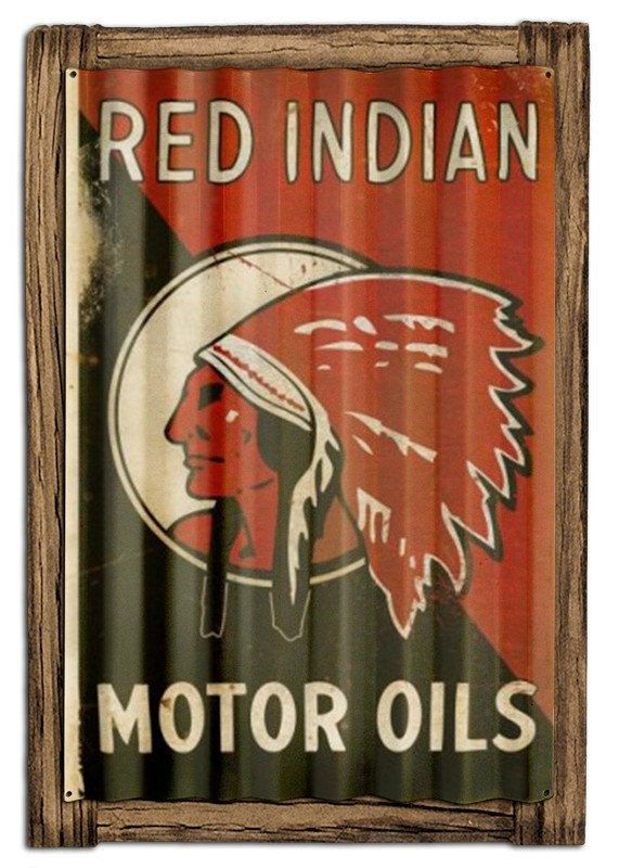 Red Indian Motor Oil Corrugated Metal Advertising Sign on Barn Wood USA Made Vintage Style Garage Art PTSCWD014 by HomeDecorGarageArt on Etsy