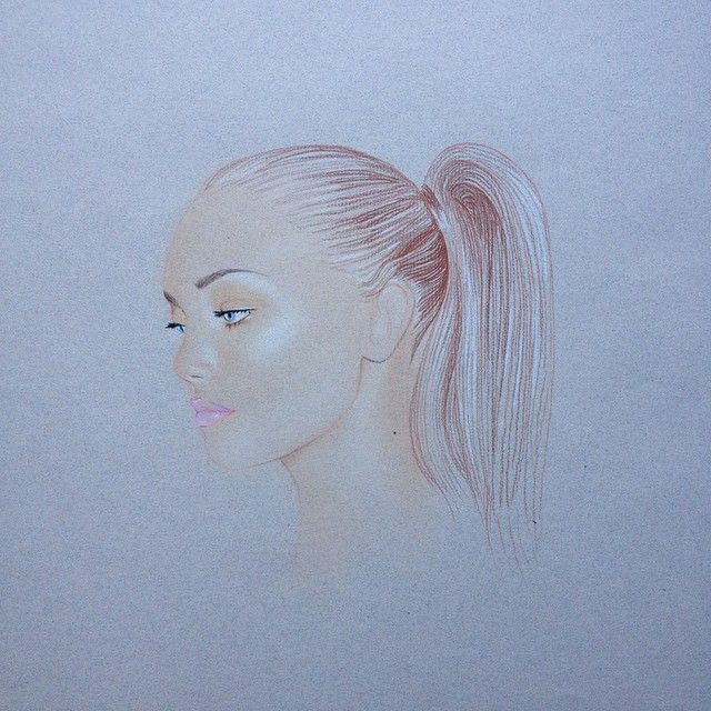 My favourite things to draw are cheekbones and dewy skin #modelsketch #draweveryday #dewyskin #highlights #perfectponytail