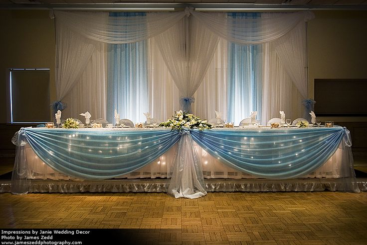 . A pipe and drape backdrop with uplighting and swags, with matching table skirting and coverings.