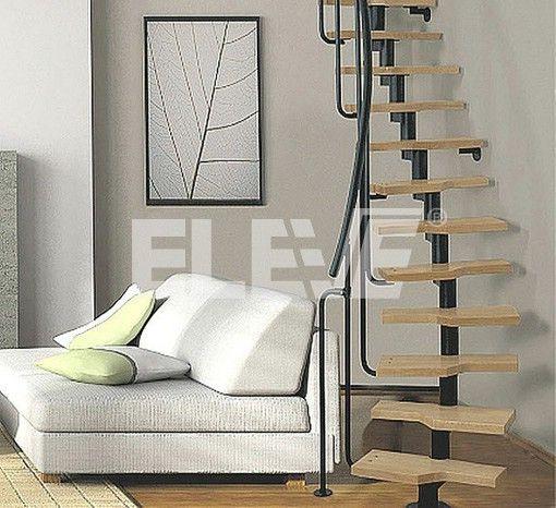 escalera medio caracol de un eje central liviana y minimalista