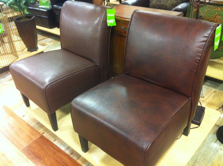 Pair Of Warm Brown Leather Chairs At Home Goods In Rheem Valley