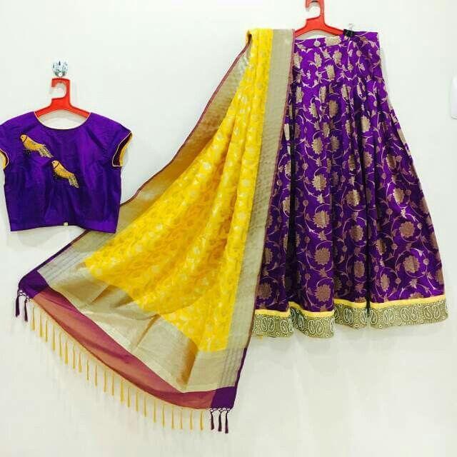 purple yellow lehanga benarasi