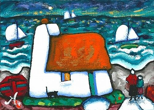 "Annie Robinson ""Evening Star"" #art #painting #cottage #sea #sailing #DukeStreetGallery"