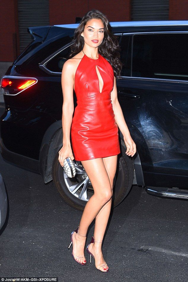 Red hot woman! Shanina Shaik looked red hot in a leather halter neck minidress at the W Dubai launch in New York City on Wednesday