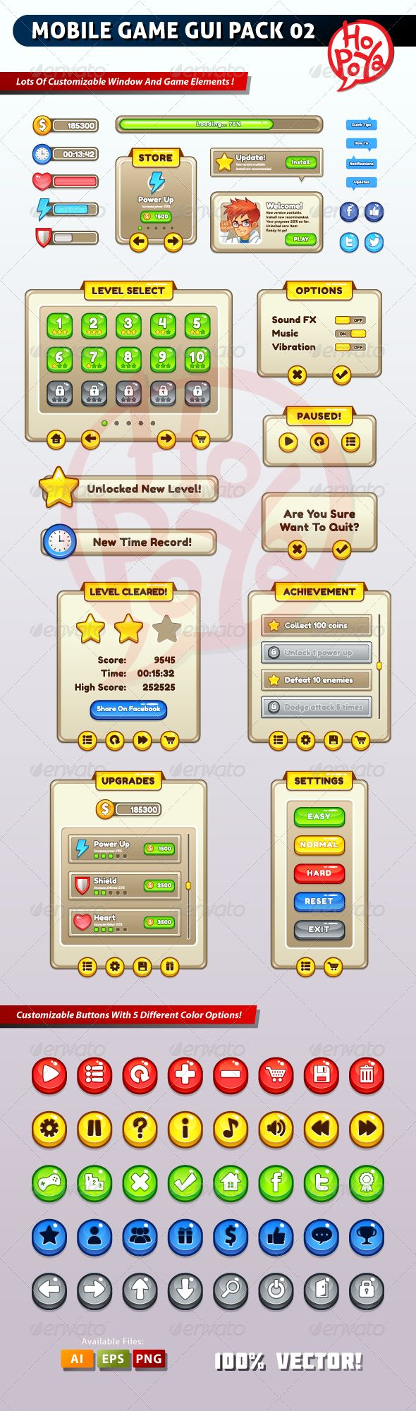 Mobile Game GUI Pack 02 - Web Elements Vectors