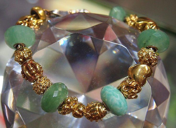 Jewellery-Bracelet-Designer-Troll Beads14 carat yellow gold and Adventurine Beads