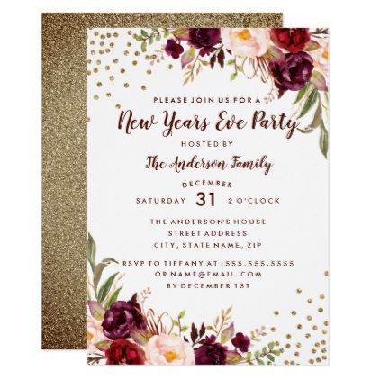 Burgundy Gold Floral New Years Eve Party Invite - invitations personalize custom special event invitation idea style party card cards
