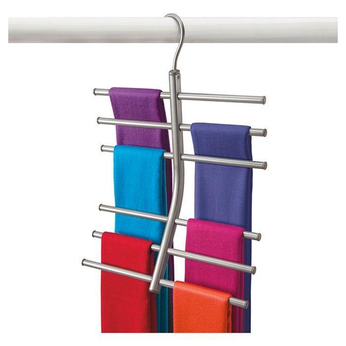 Lynk Hanging Tiered Scarf Holder Closet Hanger Organizer Rack Platinum In 2020 Scarf Rack Scarf Organization Hanging Scarves