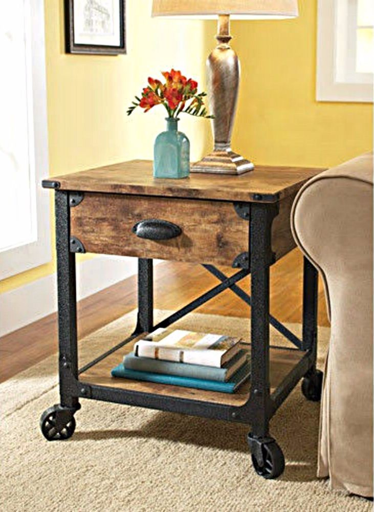 End Tables With Storage Industrial Wood Metal Legs Drawer Black Brown Rustic StorageLiving Room