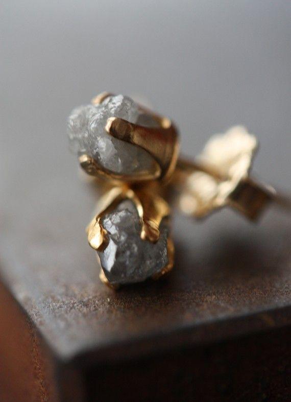 Rough diamond stud earrings. LexLuxe.