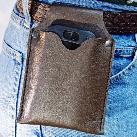 Phone Holster * Brown Leather IPhone Belt Pouch # phone pouch # Brown Argintina # Rivets # IPhone belt holster # Android case # leather case