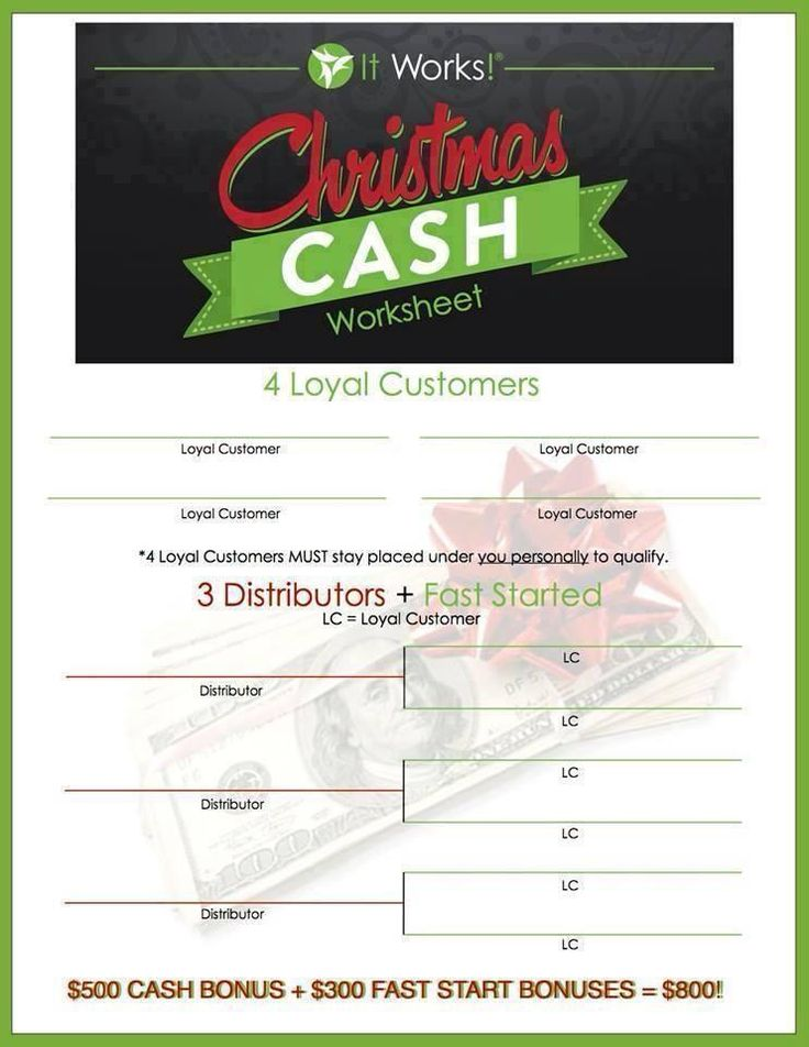 $800 in Christmas Cash is this easy!!! ✔ Re-pin! ✔ Pin it! ✔ Check it out! for more info on becoming an It Works DT or about me! wwwww.facebook.com/maryshealthywraps -contact us. maryshealthywraps.myitworks.com -order or become a distributor.