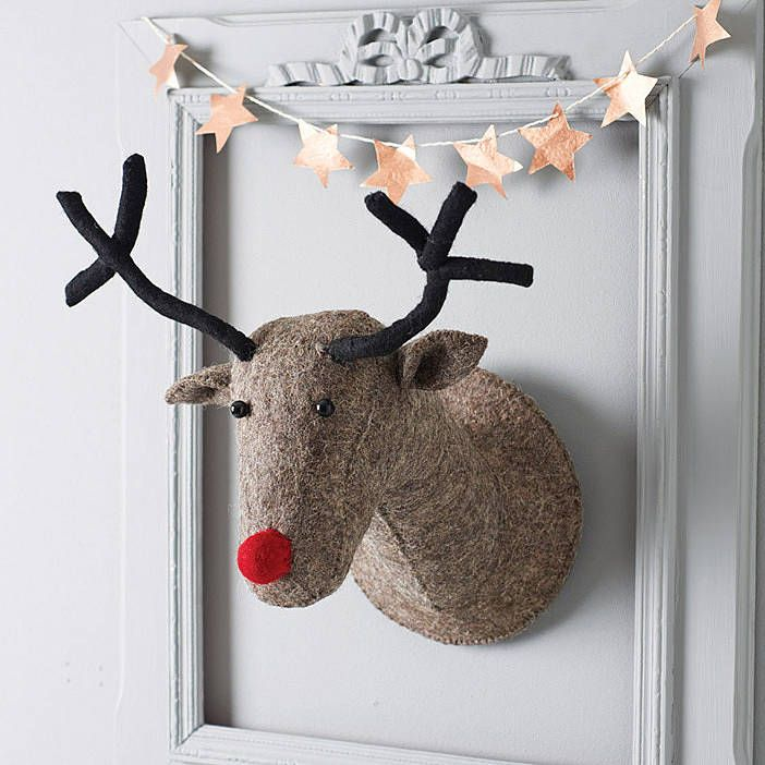 A fabulous ethically produced hand-crafted felt reindeer head.A Christmas decoration with a difference, this characterful reindeer head is will look fab on any wall. Handmade from grey brown felt, with a berry red nose and of course antlers too! He has a hook on the back so can be easily hung from a picture hook or propped up above a fireplace.Hand-crafted felt.25x40x25cm