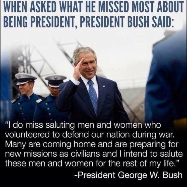 President George W Bush on saluting the Military ...