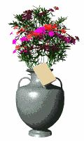 Moving-animated picture of Mothers Day flowers in vase with card